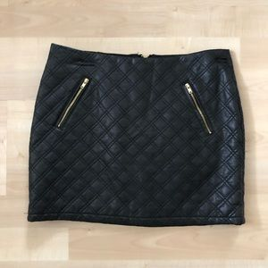 Faux leather quilted skirt from Express